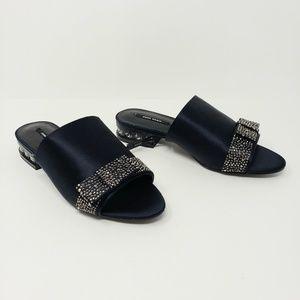 Zara Basic Navy Blue Satin Slides Rhinestones Bow
